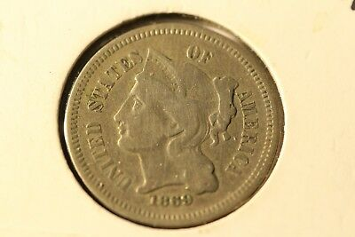 1869 Three (3) Cent Nickel Piece Exact Coin Pictured