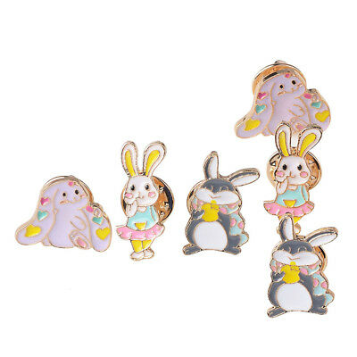 6Pc Cute Mixed Cartoon Rabbit Label Pins Enamel Brooch Breastpin Girls Women
