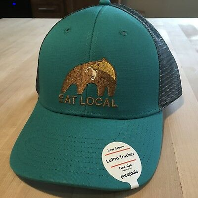 Patagonia Eat Local Upstream Lopro Trucker Hat - New With Tags - True Teal 8607ba8c4e8