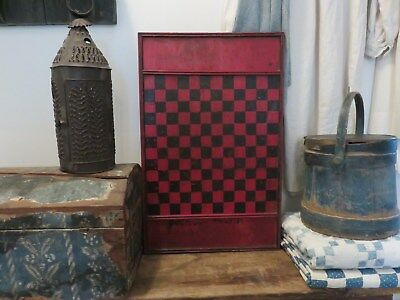 Antique Hand Made Wooden Divided Game Board, Original Paint, Signed, Aafa
