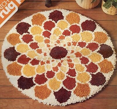 "Vintage Spinnerin Latch Hook Rug Zinnia Pattern Canvas Only 34"" Round"