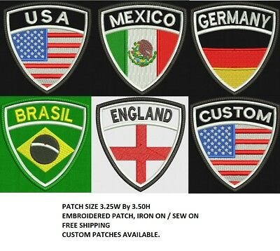 COUNTRIES Flags Crest Embroidered Patch, IRON ON / SEW ON, FREE SHIP