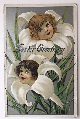 Girl's Faces in Lily Flowers Antique Embossed Easter Fantasy Postcard-k358