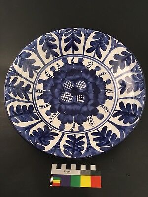"Blue & White Delft Faience Tin Glaze HNOS.Martinez S. L. Pintado 12"" Bowl"