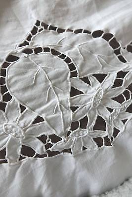 Gorgeous antique snow white Irish linen bedspread with hand embroidery cutwork.