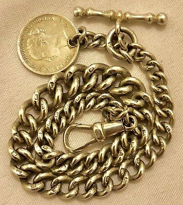 LATE 1800s SILVER GRADUATED SINGLE ALBERT P/WATCH CHAIN WITH COIN FOB