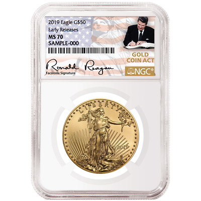 2019 $50 American Gold Eagle 1 oz. NGC MS70 ER Gold Coin Act Label