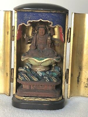 Antique JAPANESE LACQUER WOOD GILT ZUSHI BUDDHA TRAVEL ALTAR SHRINE