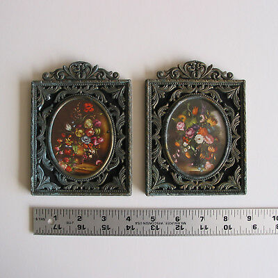 Vintage Small Ornate Metal Frame Floral Print behind Glass, Two, Made in Italy