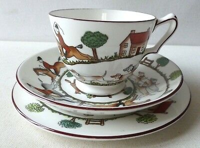 Crown Staffordshire Pottery Hunting Scene pattern cup, saucer, plate trio