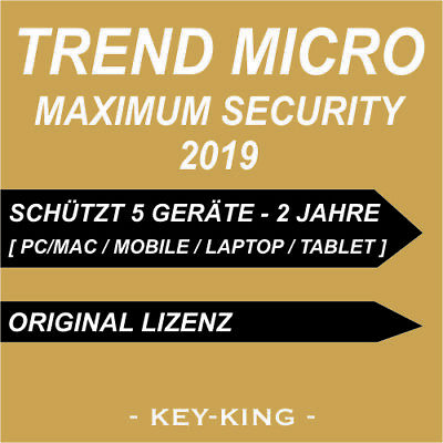 TREND MICRO MAXIMUM SECURITY 2019 | 5 Geräte MAC PC 2 JAHRE | Vollversion CD Key