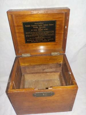 Antique Hardwood Harness' Constant Current Medical Battery Box With Brass Mounts
