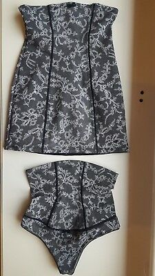 caba2c3f33ecf WOLFORD CONTROL STRING thong HIGH WAIST   top set LACE PRINT size XS small  36