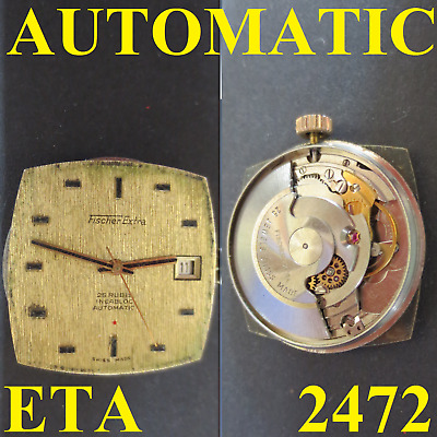 fischer extra cal. eta 2472 movement automatic dial watch parts working vintage