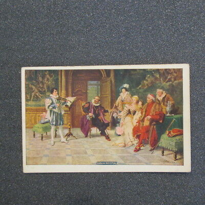 """2-Bit Postcards-A13a """"Violin Recital"""" Playing for Royalty"""