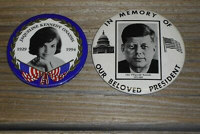 Political Memorial Advertising Pins - John F. Kennedy 35th President &Jacqueline