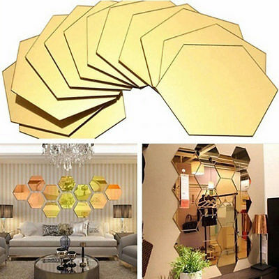 12 Pcs Wall Stickers 3D Mirror Hexagon Vinyl Removable Decal Home Decor Art DIY