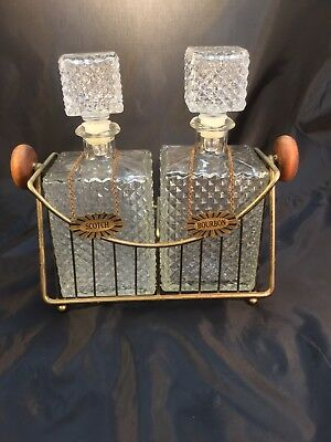 2 Vintage Diamond Cut Glass Bottle Liquor Decanter Set W/ Plaques & Metal Caddy