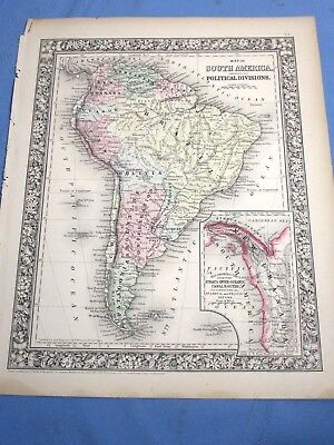 1865 Colored Map - SOUTH AMERICA showing it's POLITICAL DIVISIONS