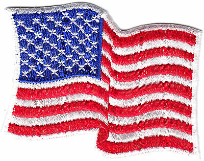 AMERICAN FLAG WAVING,WHITE BORDER Iron On Patch USA Patriotic Flags Patriotic