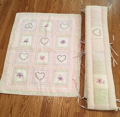 Crib Bedding Set (Crib Bumper and Crib Quilt) Butterflies And Hearts