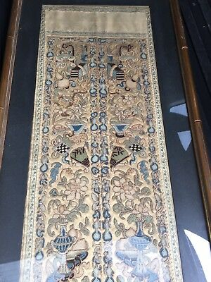"Framed Qing Dynasty Sleeve Panels ""Forbidden Stitch"" On Silk"