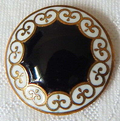 LOVELY ANTIQUE 19th CENTURY FRENCH COAL BLACK & WHITE CHAMPLEVE ENAMEL BUTTON