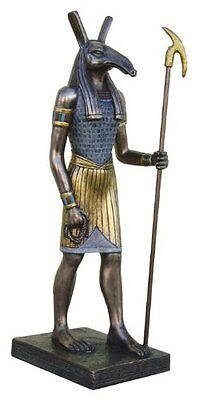 "8.75"" Egyptian Seth Sculpture Figurine Ancient Egypt God Statue Spear Decor"