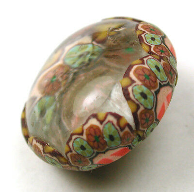 Vintage Glass Button w Fimo Wrapped Design Very Colorful 13/16""