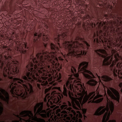 Seamless Floral Pattern on Burnout Velvet Fabric  - Style P-613-VELVET