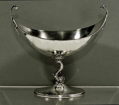 Fine Redlich Co. Sterling Silver Dolphin / Sea Serpent Caviar Tazza c1890