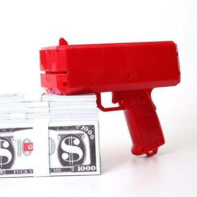 Shooting Money Toy Gun +100 Counterfeit Coins Big Red Glossy Make It Rain Party