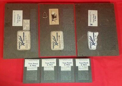 Lot of 7 MidCentury HARLICH MFG Salesboard Punch Board Games with Punches