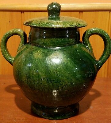 GREEN GLAZE GINGER JAR POTTERY  - excellent condition