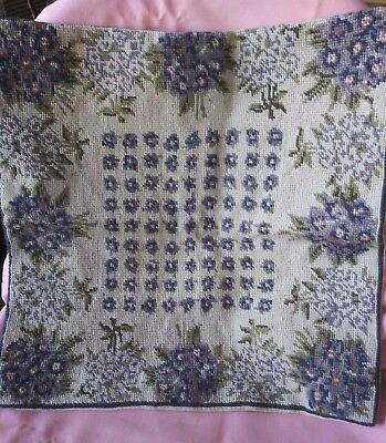 Vintage Handmade Needlepoint Purple/Green Florals Square Throw Pillow