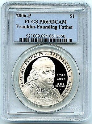 2006-P Franklin Proof Silver Dollar, Founding Father, PCGS PR-69 DCAM, Flashy!