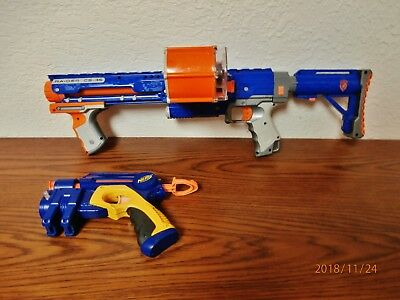 Nerf-N-Strike Raider Cs-35 Blaster Rifle Dart Gun/stock/drum-And Pistol-Complete