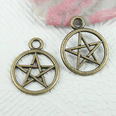 10pcs antiqued bronze color round shaped pentagrammos pattern charms  EF2662