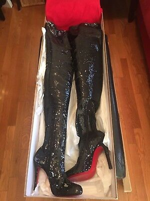huge discount 4df97 8525a CHRISTIAN LOUBOUTIN LOUISE X 100 M323 Version Black Silver Heel Boot Size 38