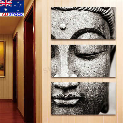 AU 3 Panels Picture Buddha Statue Painting Print Canvas Wall Art Home Decoration