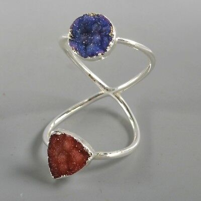 Size 6.5 Red & Blue Agate Druzy Twisted Full Finger Ring Silver Plated H128909