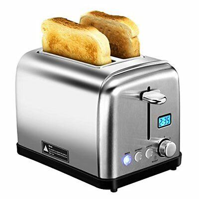 HoLife 2 Slice Toaster Stainless Steel with 6 Bread Shade Settings