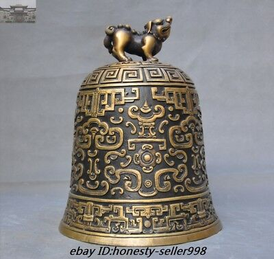 """11"""" Antiques Old Chinese Dynasty Temple Pure bronze Beast Pray Bell Church Zhong"""