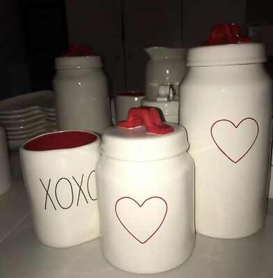 New Rae Dunn Valentines Day Heart Canisters Set And XOXO Mug w/ Red Inside 2019