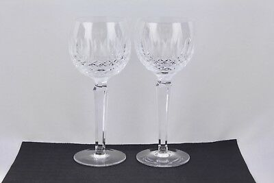 "Waterford Crystal Set Of 2 Colleen 7-1/4"" Wine Hock Glasses - Mint"
