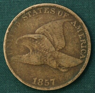 1857 Flying Eagle Cent: See pictures of Fine details. Low price shipping!