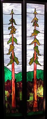 2 Beautiful Stained Glass Panels/Doors Redwood Tree Design