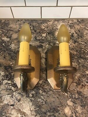 Wired Pair Antique Wall Sconce Fixtures Electric Candles Kitchen Fireplace 1C
