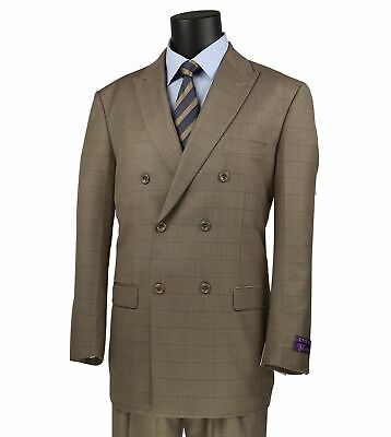 VINCI Men's Tan Windowpane Double Breasted 6 Button Classic Fit Suit NEW