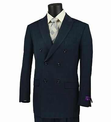 VINCI Men's Navy Blue Windowpane Double Breasted 6 Button Classic Fit Suit NEW